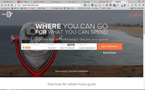 Wherefor lets you search for vacations based on how much you want to spend
