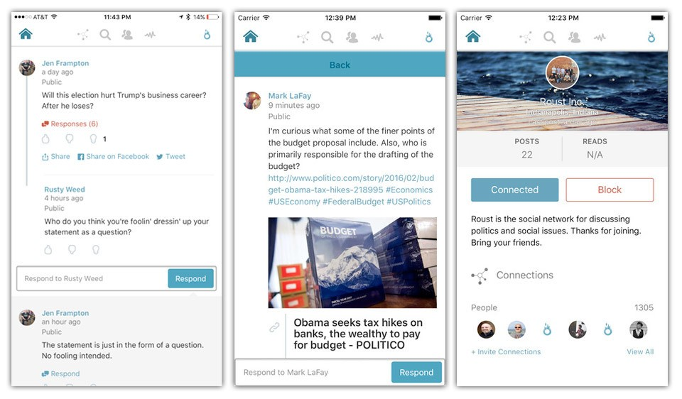 Politically themed social network Roust launches iOS app