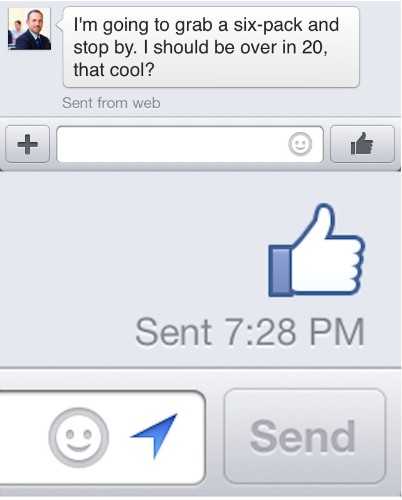 """Facebook Adds Like Button To Mobile Messages, A One-Touch """"OK"""""""
