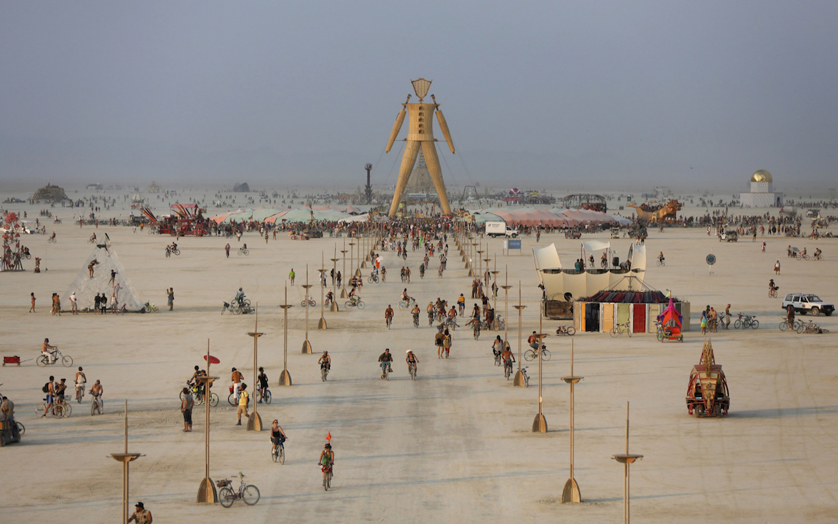 A view of the Playa and the Man during the Burning Man 2014. REUTERS/Jim Urquhart