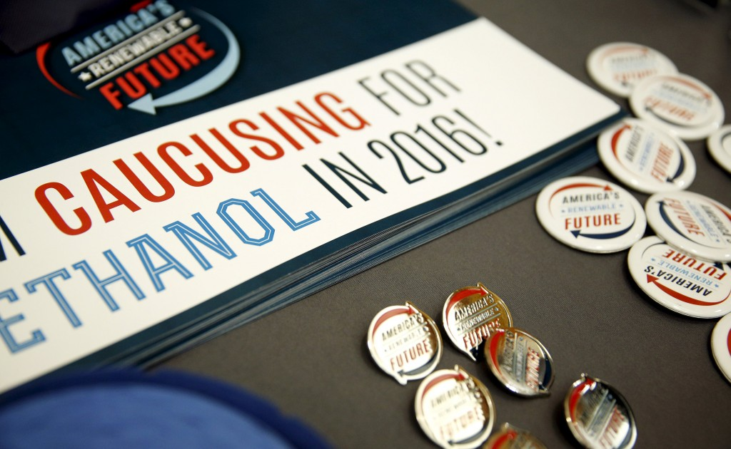 Buttons and signs supporting caucusing for ethanol and the renewable fuel standard at the 10th Annual Iowa Renewable Fuels Summit in Altoona, Iowa, January 19, 2016. REUTERS/Scott Morgan