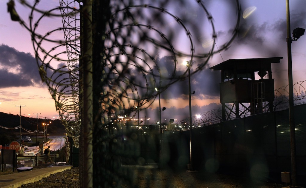 A U.S. military guard arrives for work at Camp Delta in the Guantanamo Bay detention center on March 30, 2010 in Guantanamo Bay, Cuba.