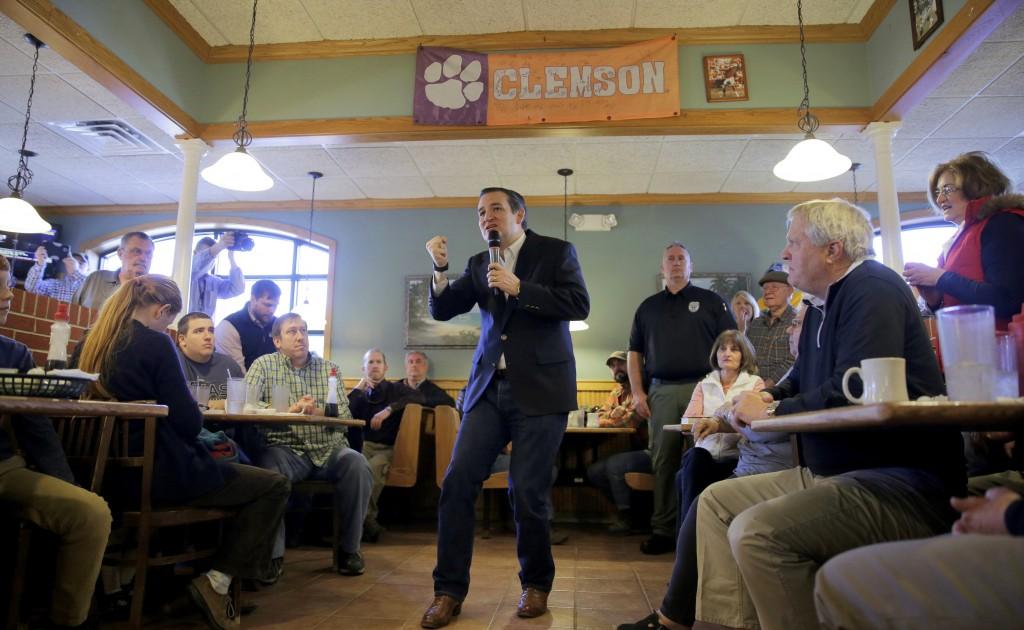 Ted Cruz speaks at a campaign event in Seneca, South Carolina February 17, 2016. REUTERS/Joshua Roberts