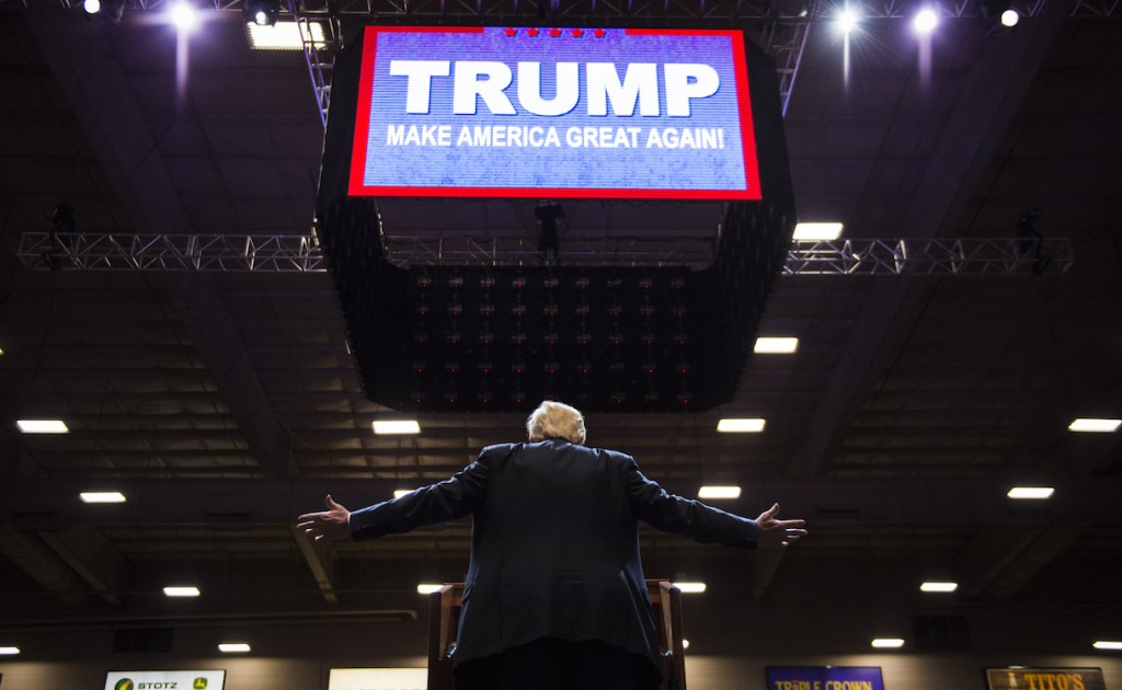 Donald Trump speaks during a campaign rally at South Point Arena in Las Vegas, NV on Monday Feb. 22, 2016. (Photo by Jabin Botsford/The Washington Post via Getty Images)