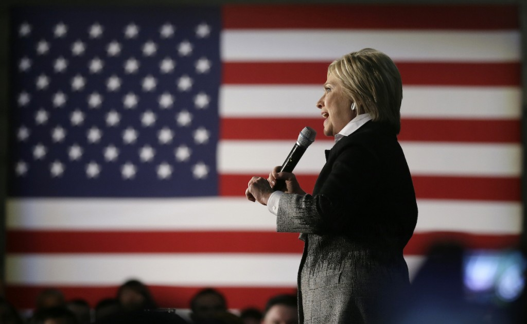 Hillary Clinton speaks during a rally at the Charles H. Wright Museum of African American History, Monday, March 7, 2016, in Detroit, Mich. (AP Photo/Charlie Neibergall)