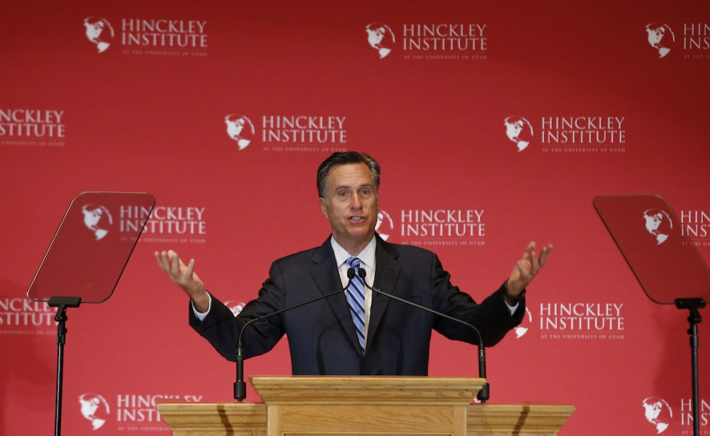 Mitt Romney gives a speech on the state of the Republican party at the Hinckley Institute of Politics on the campus of the University of Utah on March 3, 2016 in Salt Lake City, Utah. (Photo by George Frey/Getty Images)
