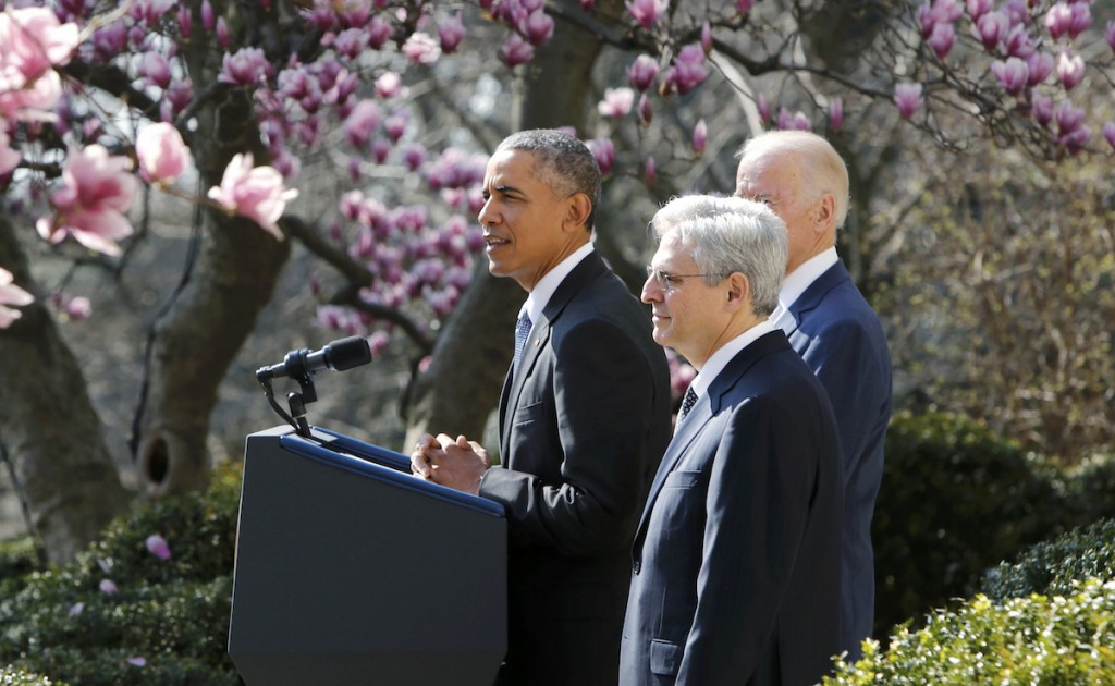 President Barack Obama announces Judge Merrick Garland as his nominee to the U.S. Supreme Court  in the White House Rose Garden in Washington, March 16, 2016.   REUTERS/Jonathan Ernst