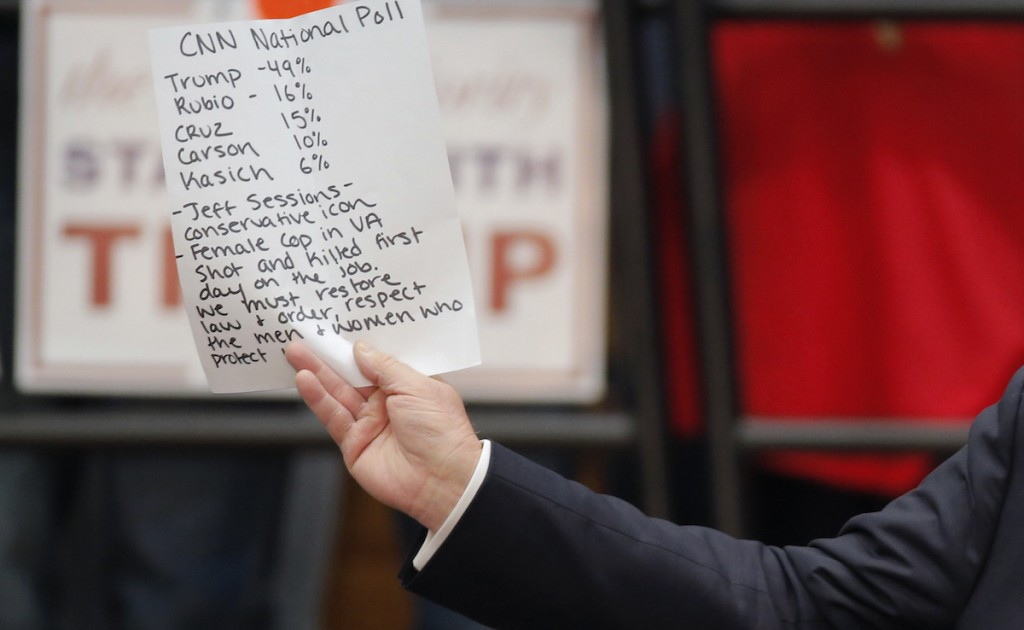 Donald Trump holds up handwritten notes as he speaks during a campaign event in Radford, Virginia February 29, 2016. REUTERS/Chris Keane