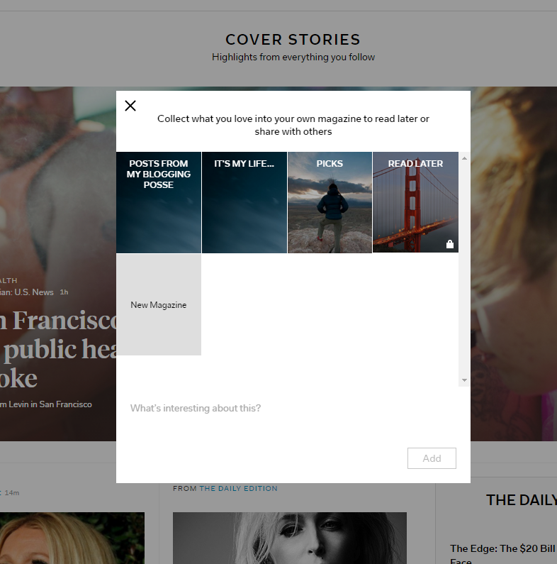 Creating a new Flipboard mag from a flip