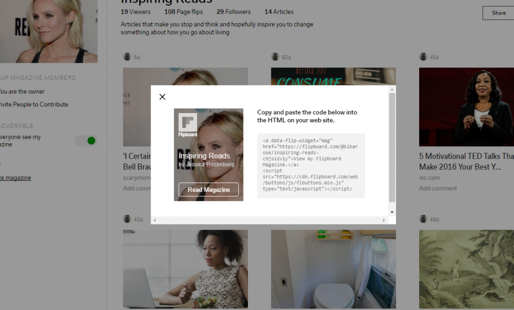 Flipboard Magazine Embed function