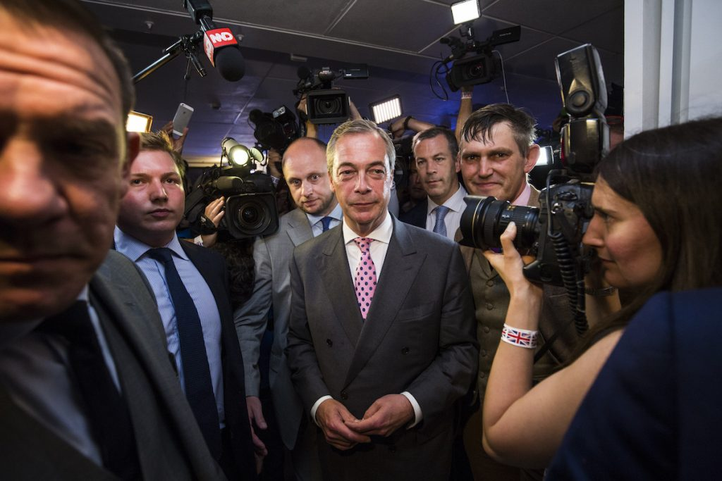 LONDON, ENGLAND - JUNE 23: UK Independence Party Leader Nigel Farage arrives at the Leave.EU campaign's referendum party at Millbank Tower on June 23, 2016 in London, England. The United Kingdom has gone to the polls to decide whether or not the country wishes to remain within the European Union. After a hard fought campaign from both REMAIN and LEAVE the vote is too close to call. A result on the referendum is expected on Friday morning.(Photo by Jack Taylor/Getty Images)