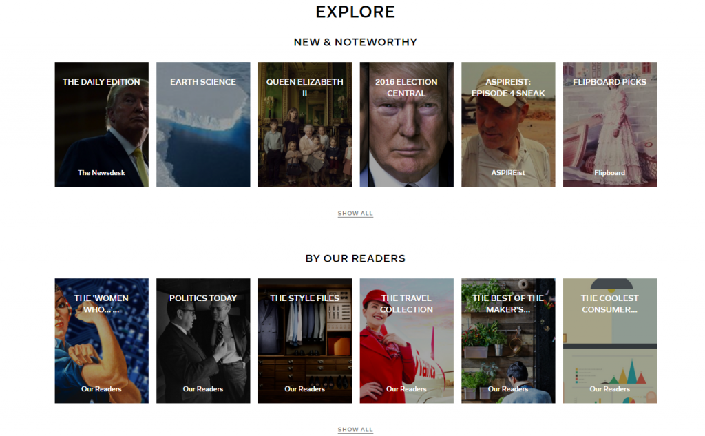 What you see when you click explore on Flipboard