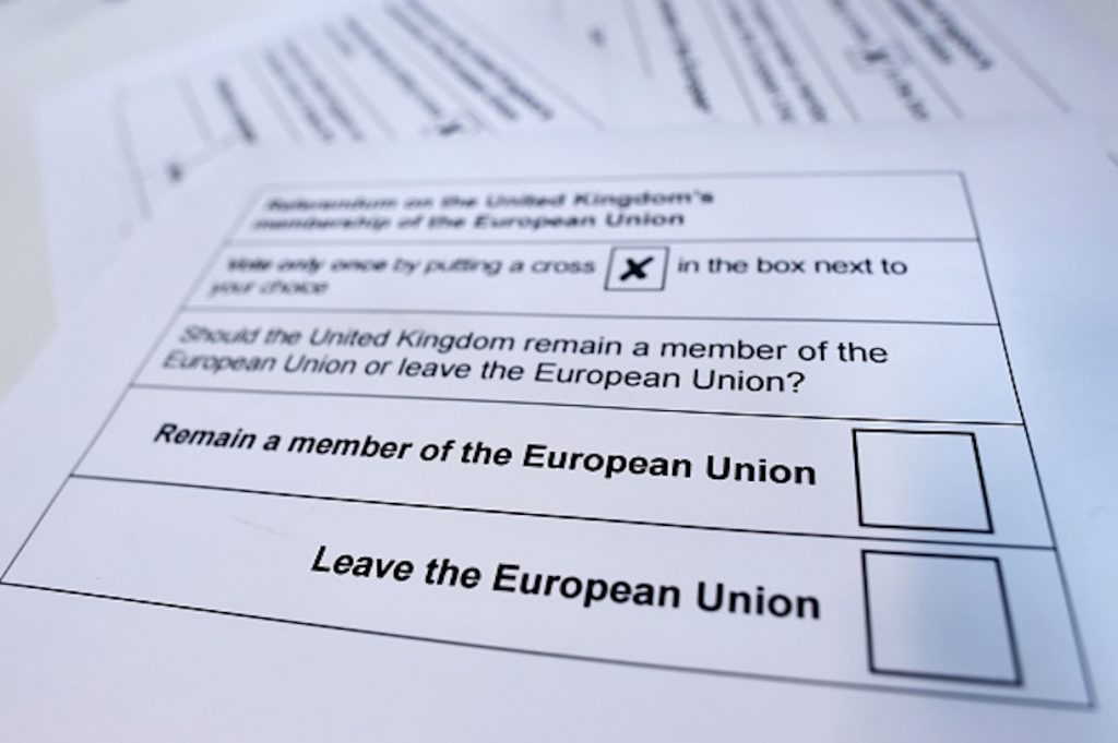A picture shows printed examples of what an EU referendum ballot paper is expected to look like downloaded from the Stockton on Tees Borough Council website and photographed as an illustration in London on June 8, 2016. Britain will vote in an in/out referendum on whether to leave or remain in the European Union on June 23. / AFP / BEN STANSALL (Photo credit should read BEN STANSALL/AFP/Getty Images)