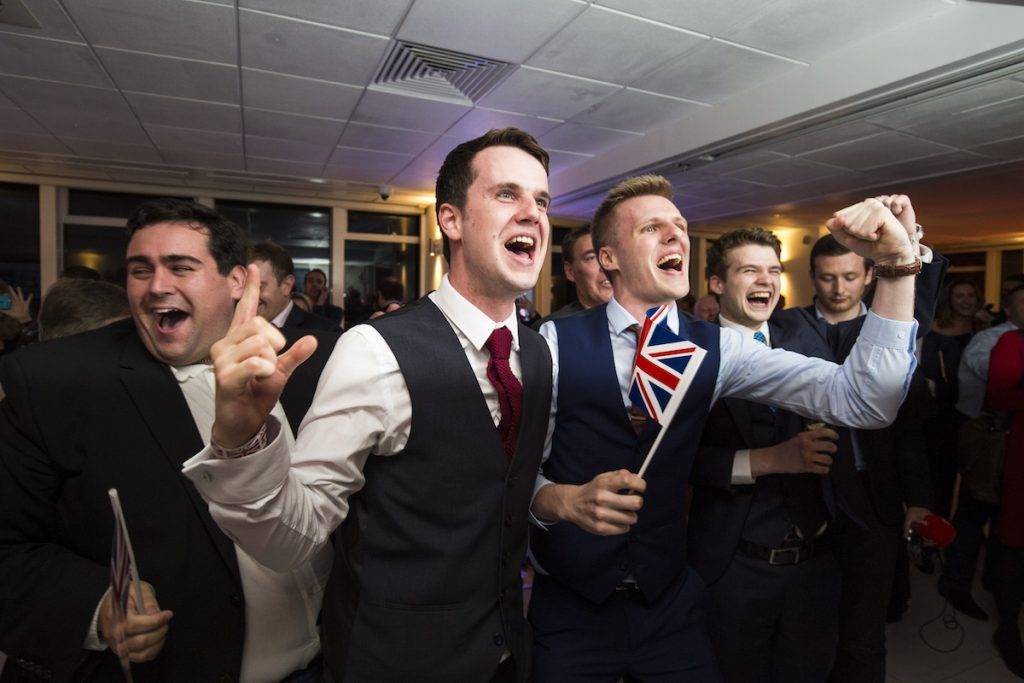 LONDON, ENGLAND - JUNE 24: People react to a regional EU referendum result at the Leave.EU campaign's referendum party at Millbank Tower on June 23, 2016 in London, England. The United Kingdom has gone to the polls to decide whether or not the country wishes to remain within the European Union. After a hard fought campaign from both REMAIN and LEAVE the vote is too close to call. A result on the referendum is expected on Friday morning.(Photo by Jack Taylor/Getty Images)