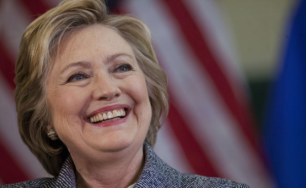 Hillary Clinton smiles while speaking during a campaign event in Hartford, Connecticut, U.S., on Thursday, April 21, 2016. Victor J. Blue/Bloomberg via Getty Images