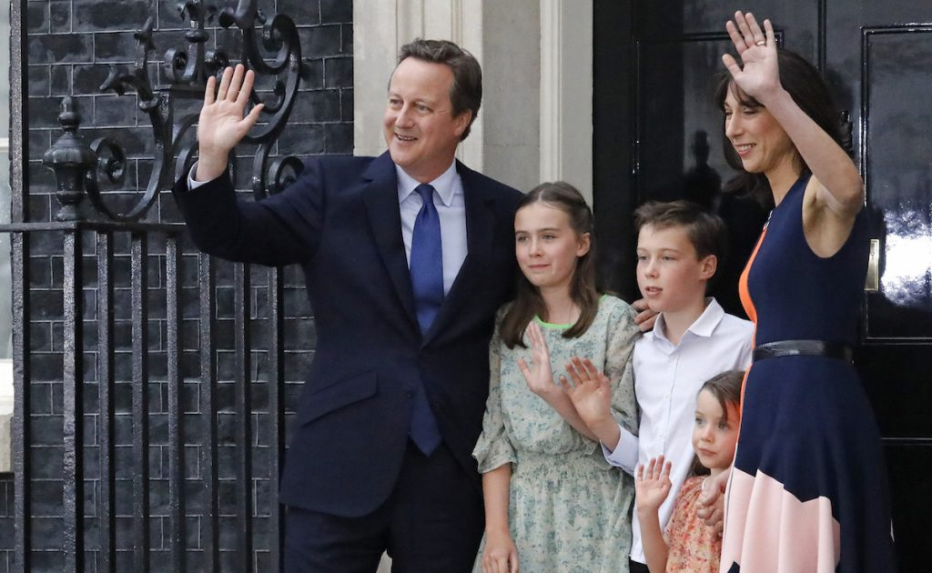 Britain's Prime Minister David Cameron, his wife Samantha and their children Nancy, Florence and Elwen, centre, wave as they leave 10 Downing Street, in London, Wednesday, July 13, 2016. AP Photo/Frank Augstein