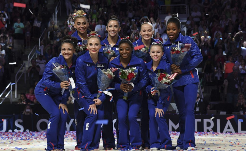 The 2016 U.S. Women's Olympic team pose for a photo after the women's gymnastics U.S. Olympic team trials at SAP Center. Kyle Terada-USA TODAY Sports