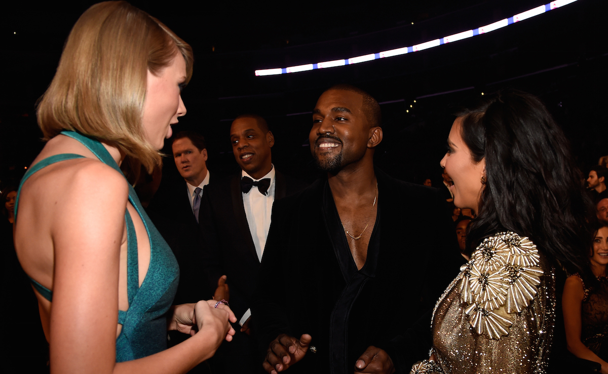 Taylor Swift, Jay Z, Kanye West and Kim Kardashian West attend The 57th Annual GRAMMY Awards at STAPLES Center on February 8, 2015 in Los Angeles, California. Kevin Mazur/WireImage