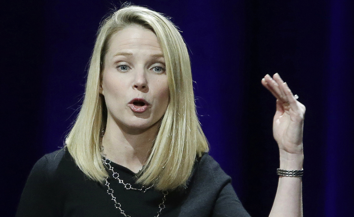 Yahoo President and CEO Marissa Mayer delivers the keynote address at the first-ever Yahoo Mobile Developer's Conference, in San Francisco. AP Photo/Eric Risberg, File