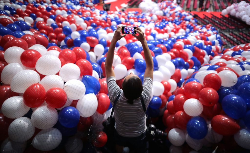 Nets filled with thousands of red, white and blue balloons before they are lifted into the ceiling of the Quicken Loans Arena July 15, 2016 in Cleveland, Ohio Photo by Chip Somodevilla/Getty Images