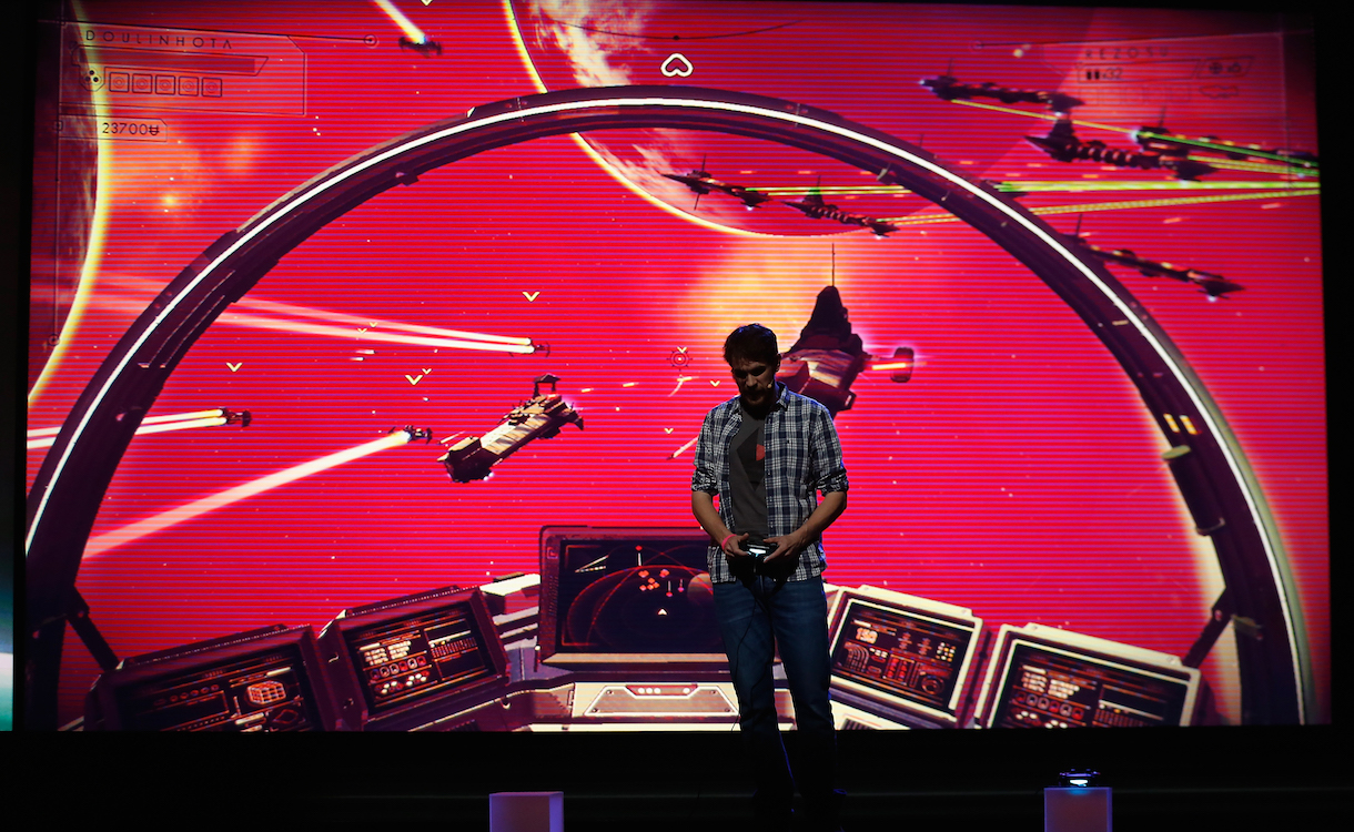"LOS ANGELES, CA - JUNE 15: Hello Games, Sean Murray demonstrates ""No Man's Sky"" during the Sony E3 press conference at the L.A. Memorial Sports Arena on June 15, 2015 in Los Angeles, California. The Sony press conference is held in conjunction with the annual Electronic Entertainment Expo (E3) which focuses on gaming systems and interactive entertainment, featuring introductions to new products and technologies. (Photo by Christian Petersen/Getty Images)"