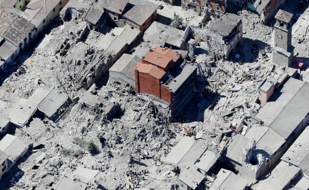 This aerial photo shows the historical part of the town of Amatrice, central Italy, after an earthquake, Wednesday, Aug. 24, 2016. AP Photo/Gregorio Borgia