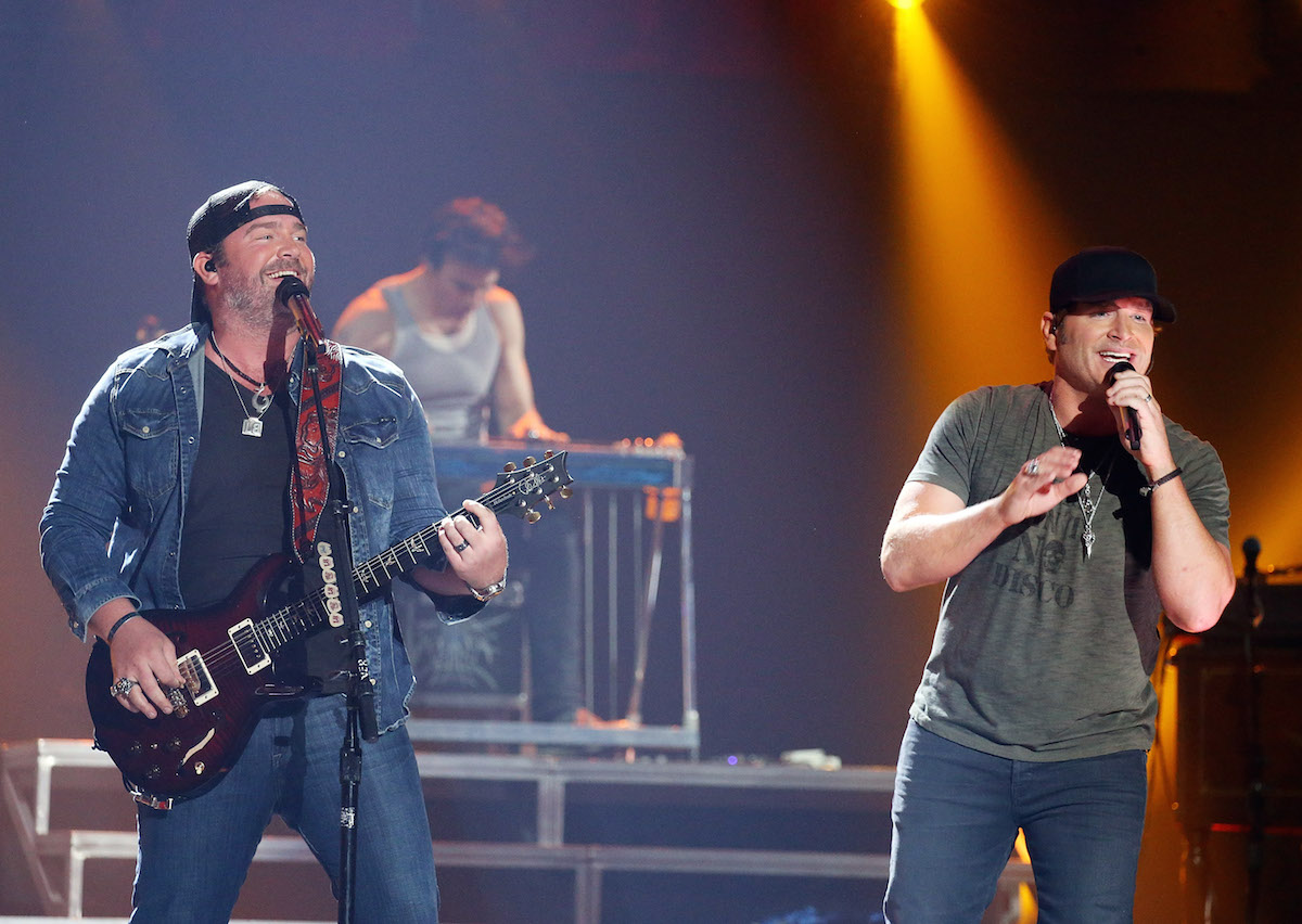 Lee Brice and Jerrod Niemann perform onstage during the 2016 iHeartCountry Festival held at The Frank Erwin Center on April 30, 2016 in Austin, Texas. Michael Tran/FilmMagic