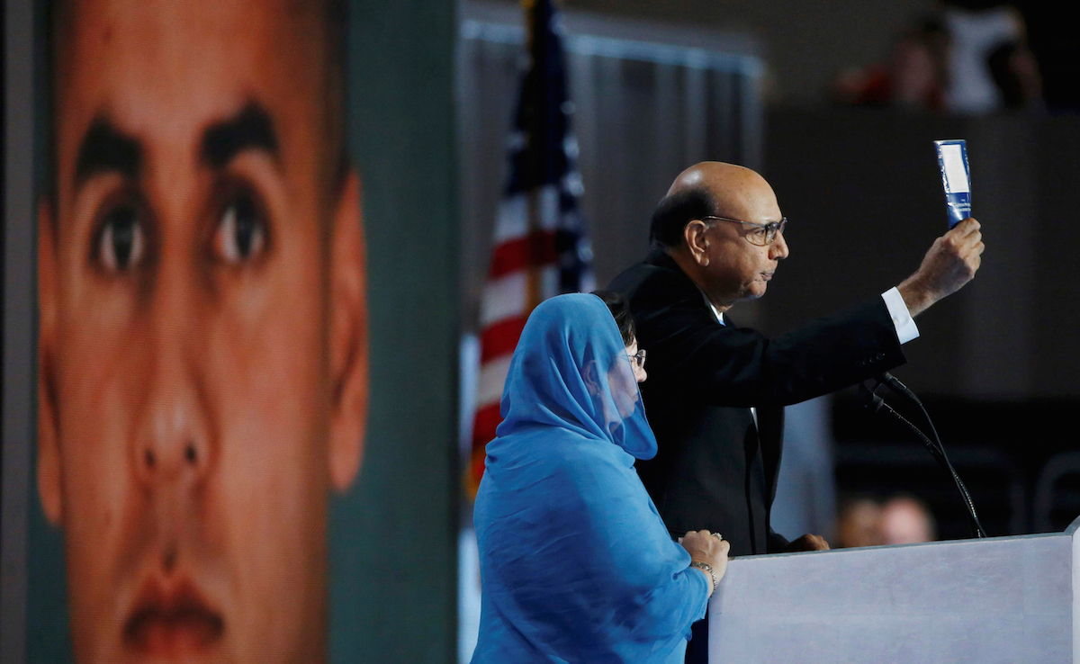 Khizr Khan, who's son Humayun (L) was killed serving in the U.S. Army, at the Democratic National Convention in Philadelphia, Pennsylvania, U.S. July 28, 2016.  REUTERS/Lucy Nicholson