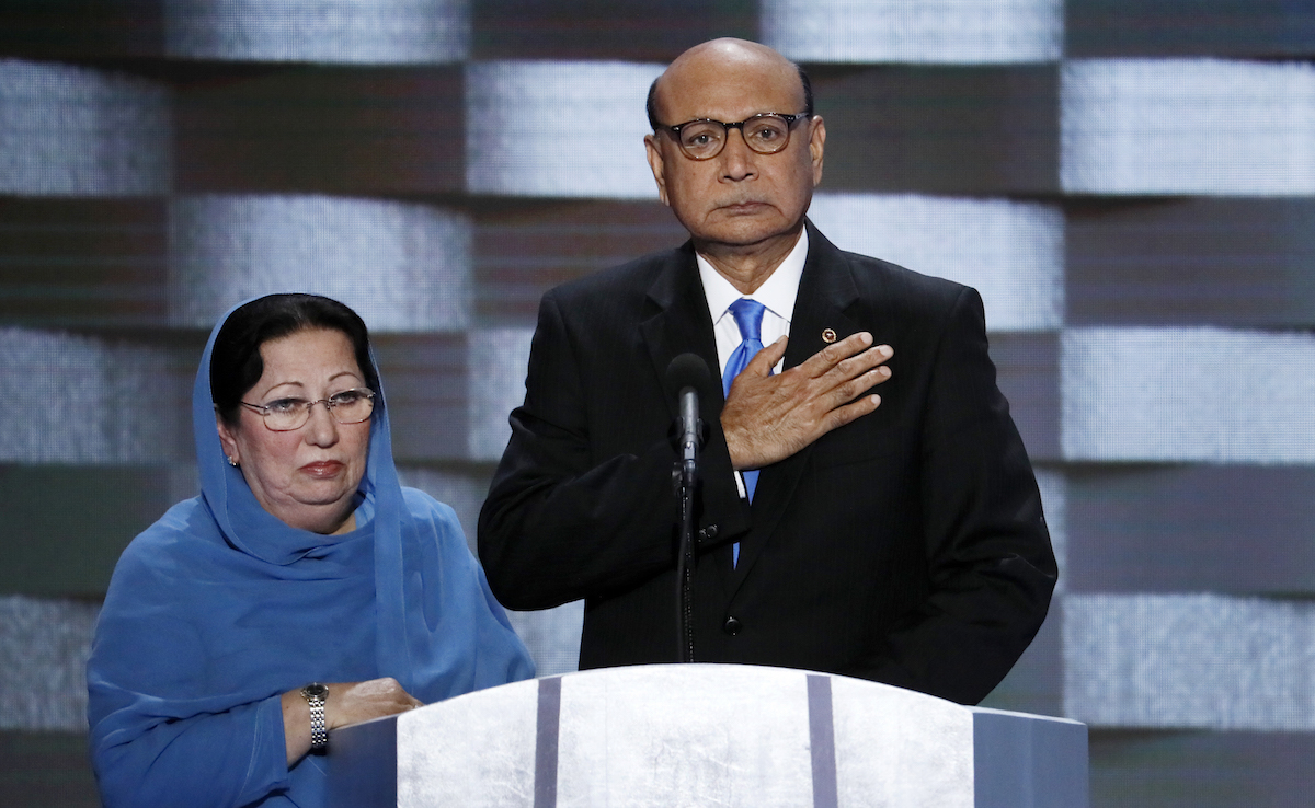Khizr Khan, father of fallen US Army Capt. Humayun S. M. Khan and his wife Ghazala speak during the final day of the Democratic National Convention in Philadelphia. AP Photo/J. Scott Applewhite, File