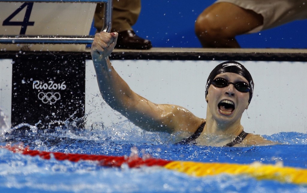 Katie Ledecky of the US celebrates winning the women's 400m freestyle in a world record. Gary Hershorn/Flipboard