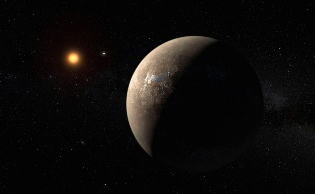 The planet Proxima b orbiting the red dwarf star Proxima Centauri is seen in an undated artist's impression released by the European Southern Observatory August 24, 2016.  ESO/M. Kornmesser/Handout via Reuters