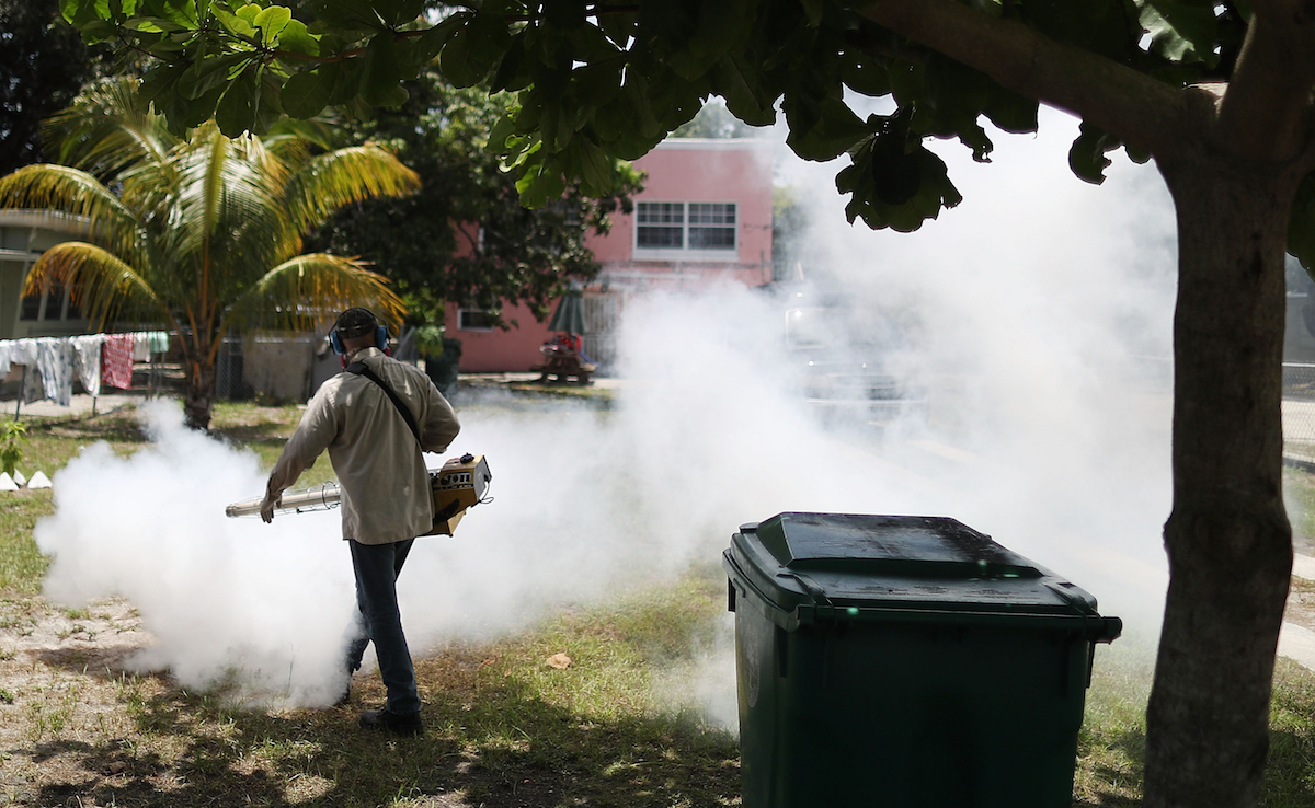 Carlos Varas, a Miami-Dade County mosquito control inspector, uses a Golden Eagle blower to spray pesticide to kill mosquitos in the Wynwood neighborhood as the county fights to control the Zika virus outbreak on August 2, 2016 in Miami, Florida. Joe Raedle/Getty Images
