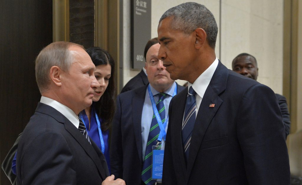 Russian President Vladimir Putin (L) meets with U.S. President Barack Obama on the sidelines of the G20 Summit in Hangzhou, China, September 5, 2016. Sputnik/Kremlin/Alexei Druzhinin/via REUTERS