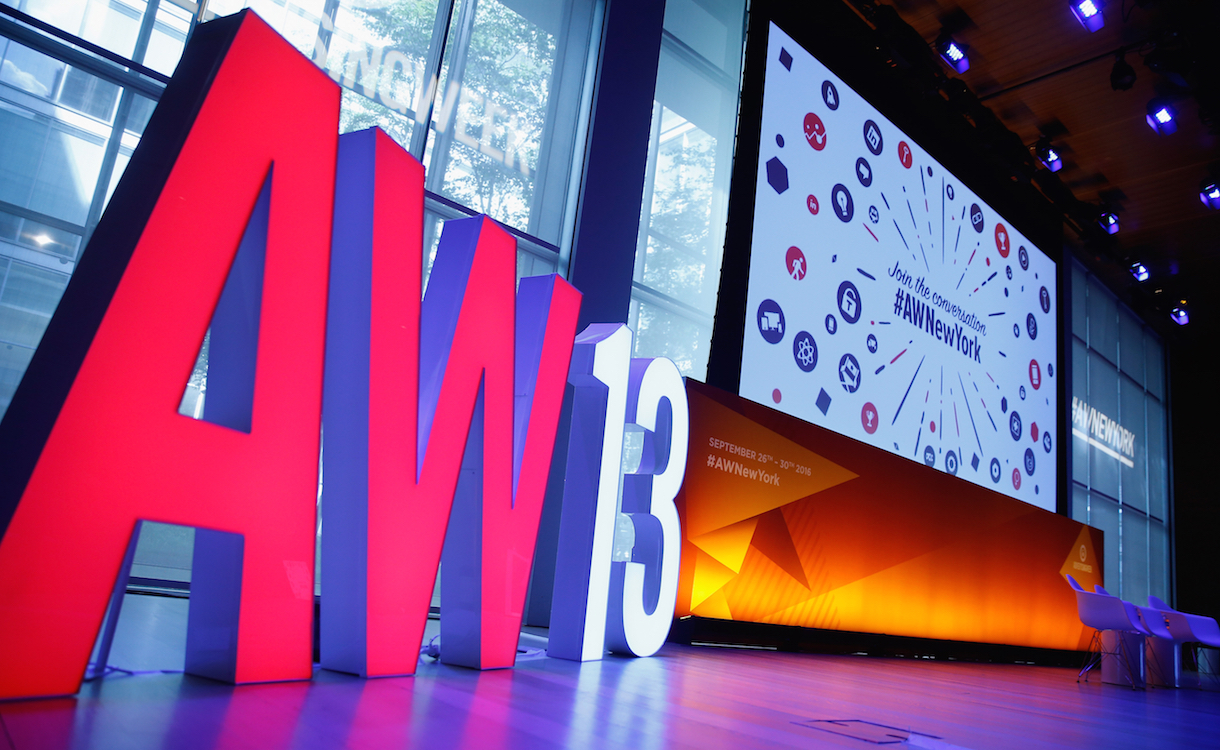 NEW YORK, NY - SEPTEMBER 26: A view of the stage before the Creating Connections that Count panel on Times Center Stage during 2016 Advertising Week New York on September 26, 2016 in New York City. (Photo by John Lamparski/Getty Images for Advertising Week New York)