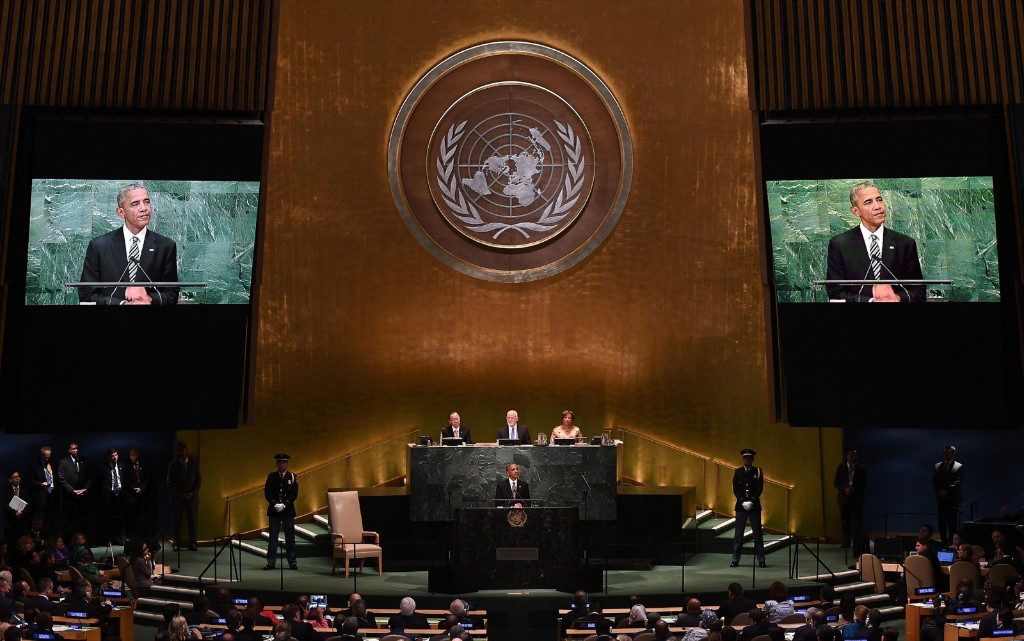 President Obama addresses the 71st session of United Nations General Assembly in New York. JEWEL SAMAD/AFP/Getty Images