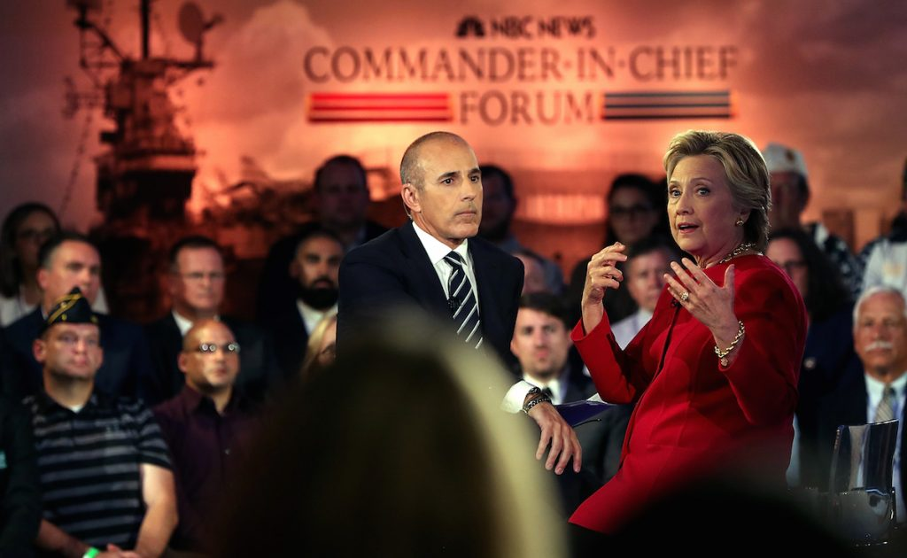 Matt Lauer looks on as Hillary Clinton speaks during the NBC News Commander-in-Chief Forum on September 7, 2016 in New York City. Justin Sullivan/Getty Images
