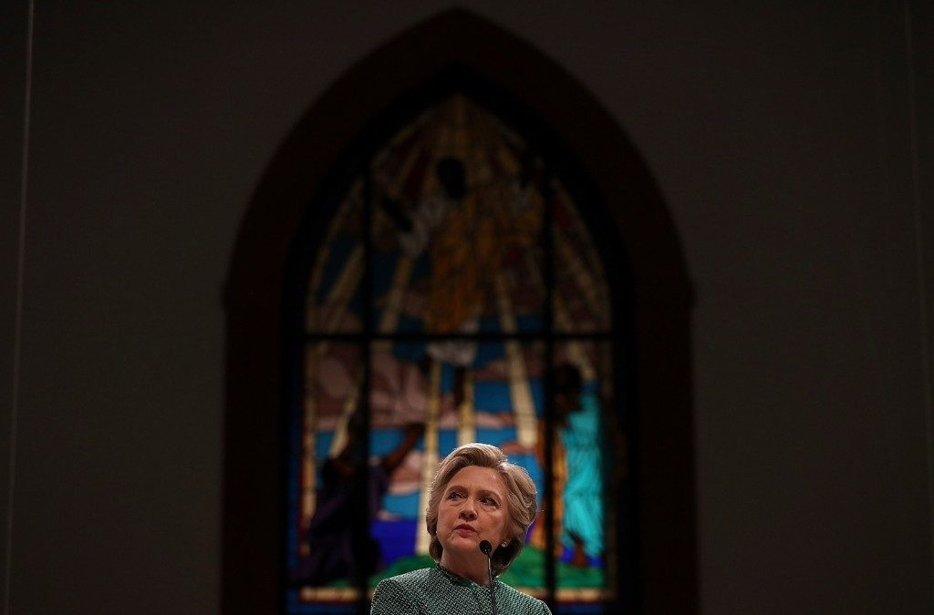 Hillary Clinton attends church services with members of Mothers of the Movement at Union Baptist Church in Durham, N.C. Justin Sullivan/Getty Images