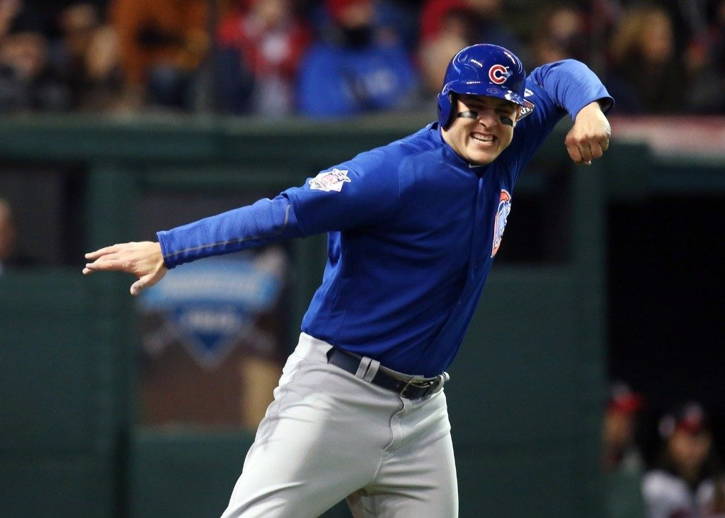 Cubs Anthony Rizzo after scoring a run against the Indians in the fifth inning. Charles LeClaire-USA TODAY Sports