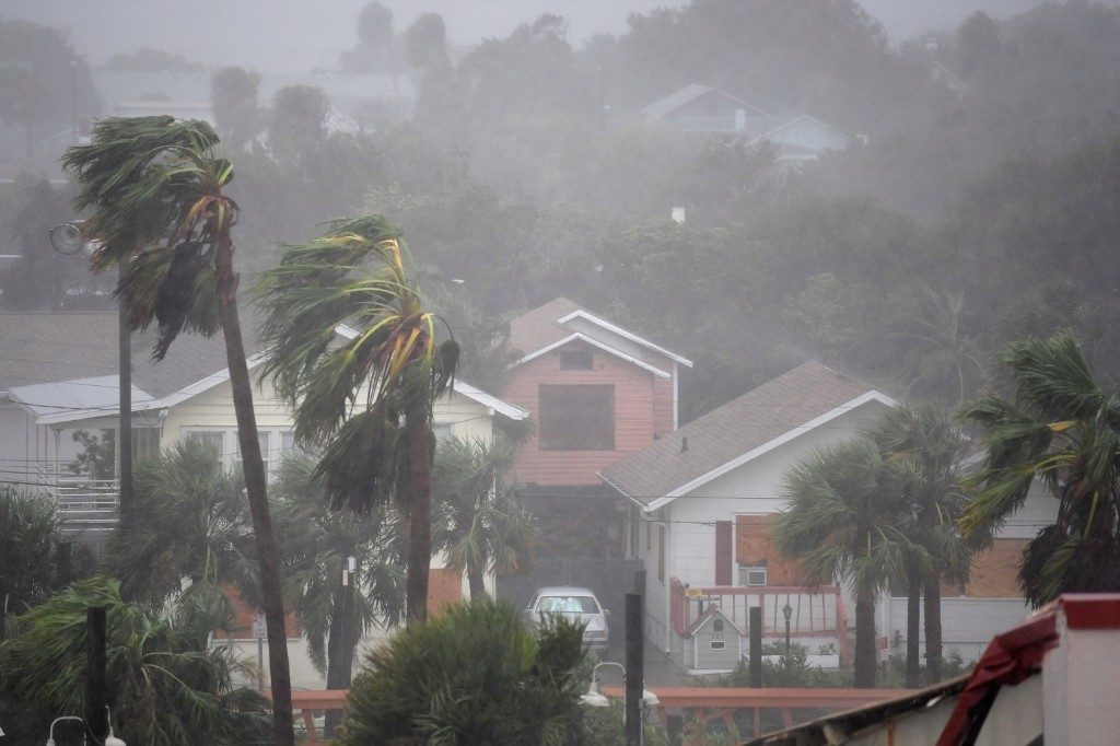 Rain batters homes as the eye of Hurricane Matthew passes Daytona Beach. REUTERS/Phelan Ebenhack