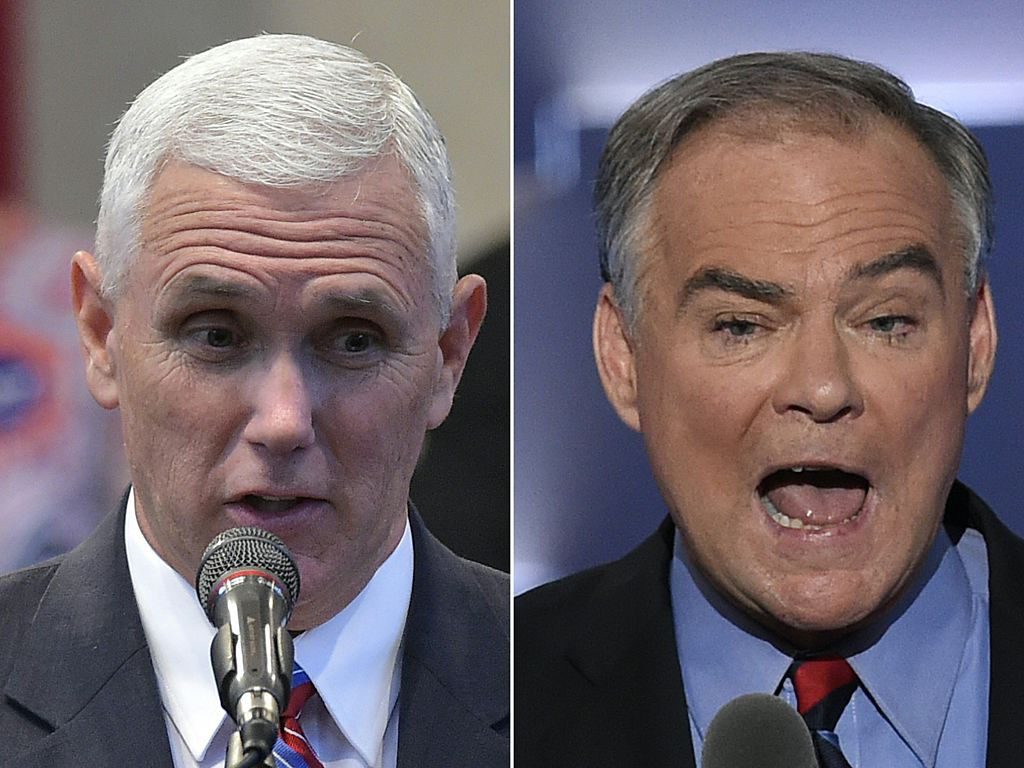 Republican Vice Presidential nominee and running mate Mike Pence (L) speaking during the Midwest Vision and Values Pastors and Leadership Conference at the New Spirit Revival Center in Cleveland Heights, Ohio on September 21, 2016, and US Democratic Nominee for Vice President Tim Kaine speaking during the Democratic National Convention at the Wells Fargo Center in Philadelphia, Pennsylvania, July 27, 2016. MANDEL NGAN,SAUL LOEB/AFP/Getty Images