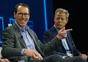 AT&T CEO Randall Stephenson and Time Warner Inc CEO Jeff Bewkes at the WSJD Live conference, 2016. REUTERS/Mike Blake