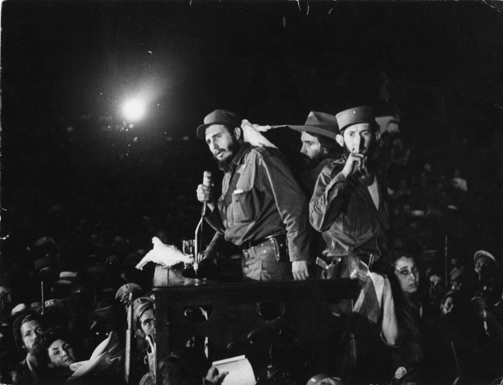 Cuban revolutionary leader Fidel Castro speaks to supporters Jan. 8, 1959 at the Batista military base. On Jan. 1, 1959, dictator President Fulgencio Batista fled the country and Castro's rebels took control. AP Photo