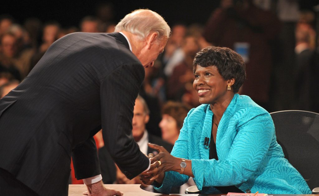 PBS journalist and debate moderator Gwen Ifill and then-Democratic vice presidential nominee, Sen. Joe Biden, D-Del., left, shake hands at the end of his vice presidential debate in St. Louis, Mo. AP Photo/Don Emmert, File Pool
