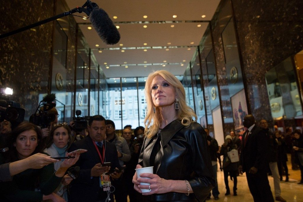 Kellyanne Conway, a senior advisor to President-Elect Donald Trump, takes questions from the media at Trump Tower. Kevin Hagen/Getty Images