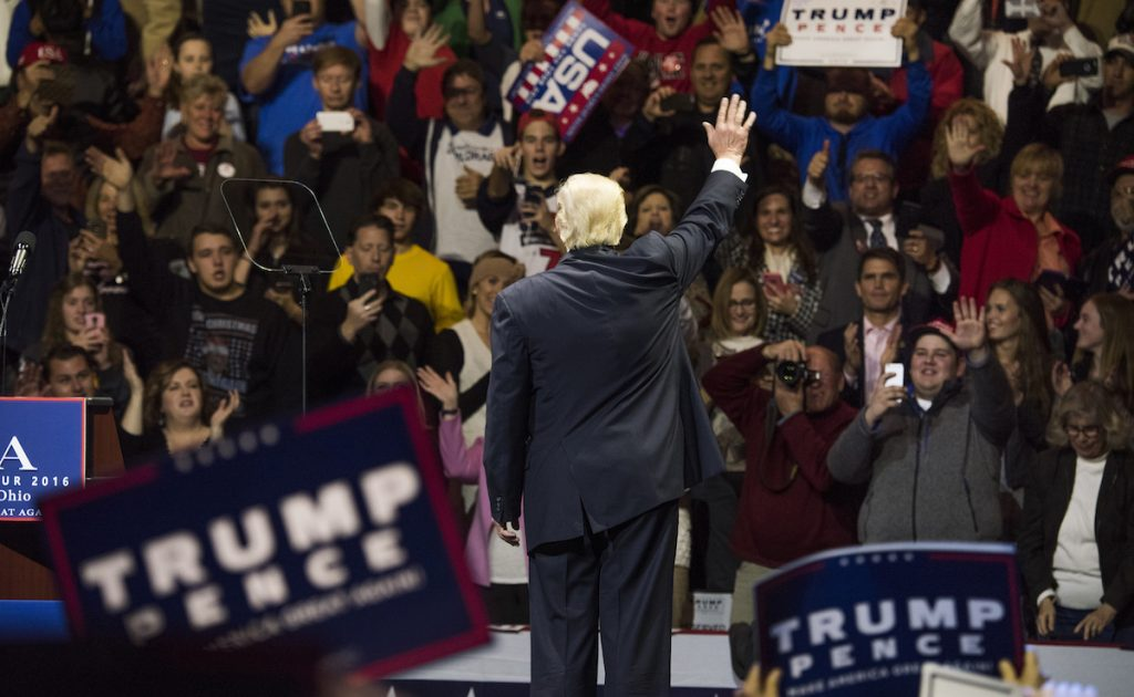 Donald Trump acknowledges the crowd after speaking at U.S. Bank Arena on December 1, 2016 in Cincinnati, Ohio. Ty Wright/Getty Images