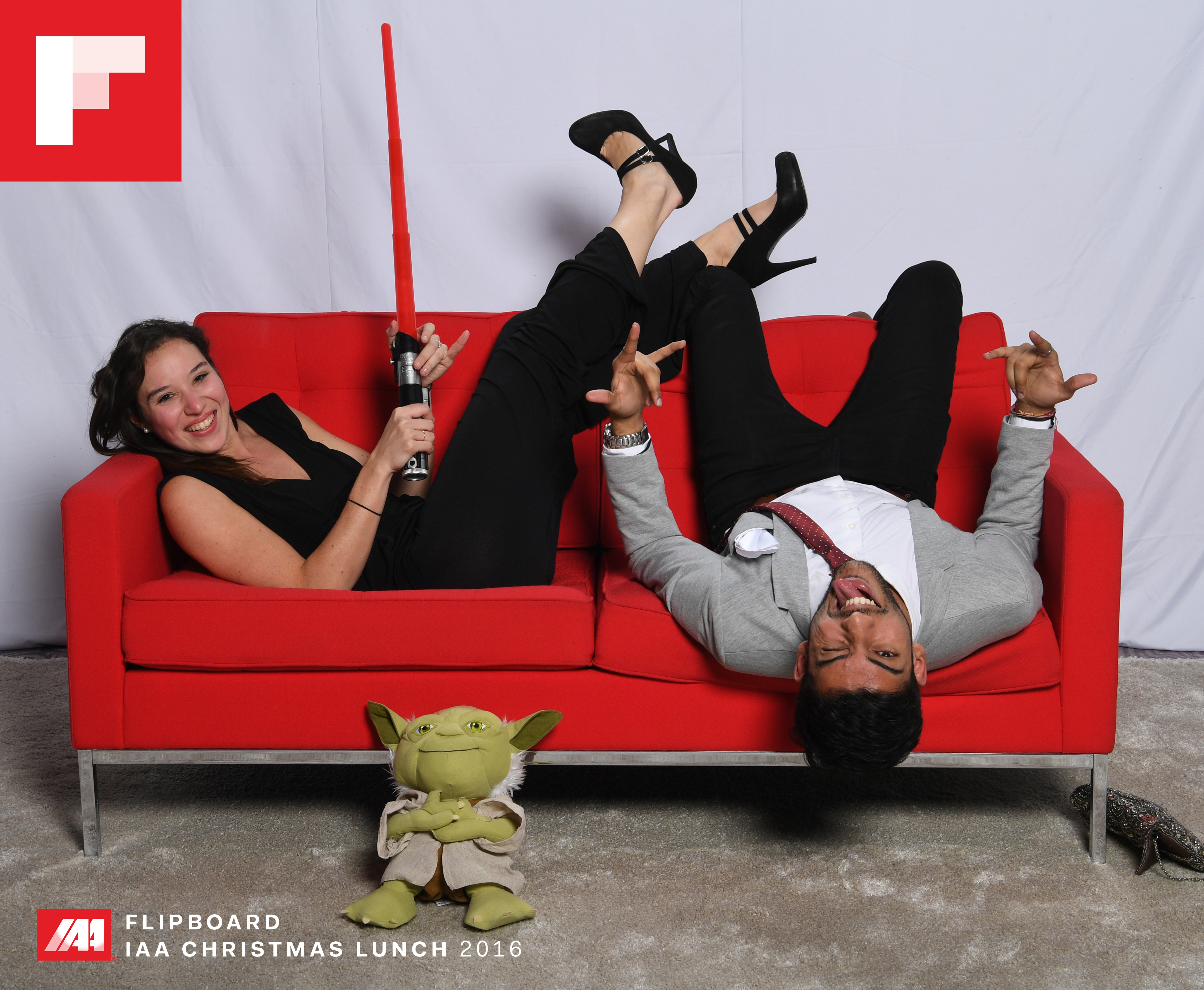 Flipboard Red Couch at the IAA Xmas Lunch in London.