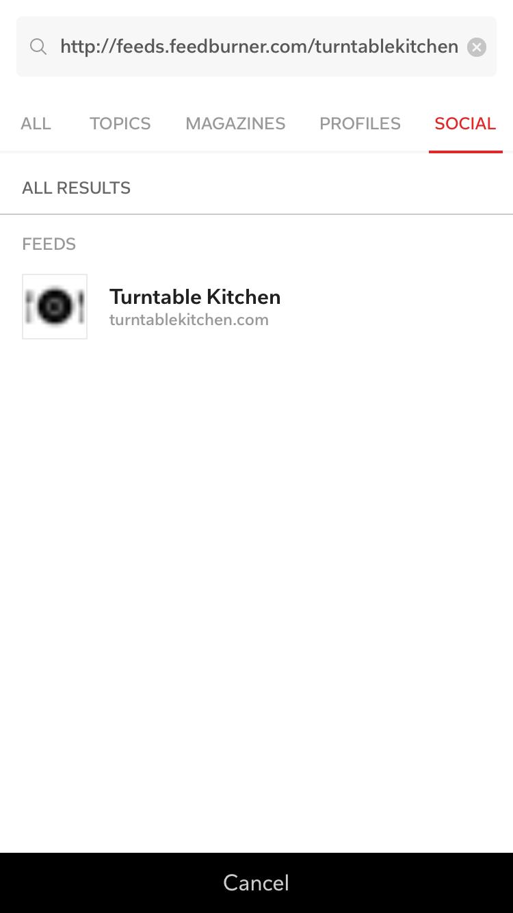 RSS Feed on Flipboard Search