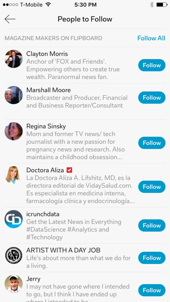 Finding people to follow on Flipboard
